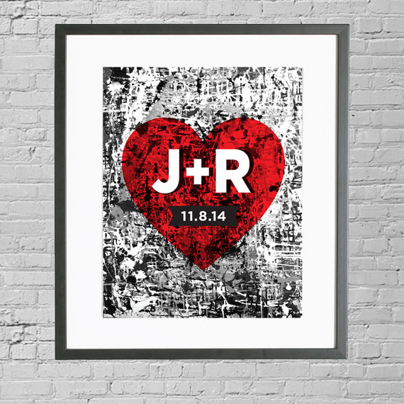 Personalized Wedding Art Date Gift Custom Heart